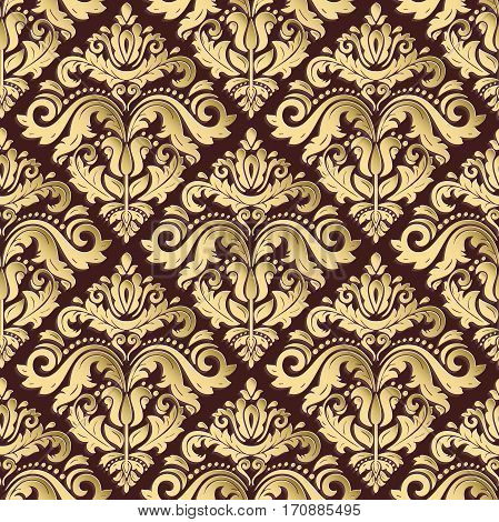 Seamless oriental ornament. Fine traditional oriental pattern with 3D elements, shadows and highlights. Brown and golden pattern