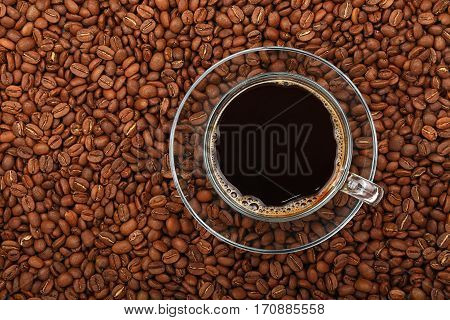 Black Coffee Transparent Full Glass Cup On Beans