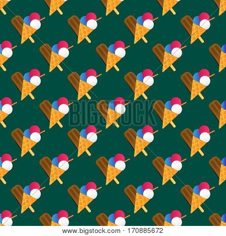 Chocolate vanilla ice cream cone soft delicious vector illustration. Refreshing dairy frozen product. Sweet flavor creamy tasty mixed food seamless pattern.