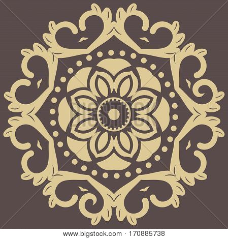 Oriental rpund pattern with arabesques and floral elements. Traditional classic ornament. Brown and golden pattern