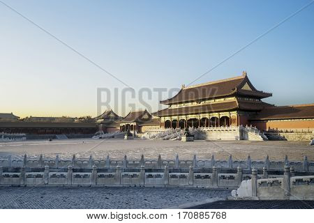 Image of courtyard of ancient imperial palace of the Forbidden City in Beijing