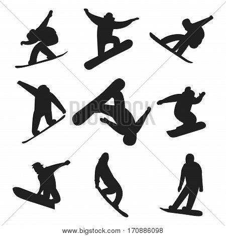Snowboarder people tricks silhouette vector illustration. Downhill dangerous guy season extreme sport. Young fast characters fun speed action. Jumper athlete activity.