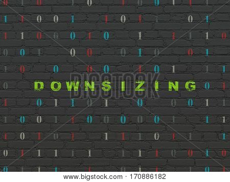 Finance concept: Painted green text Downsizing on Black Brick wall background with Binary Code