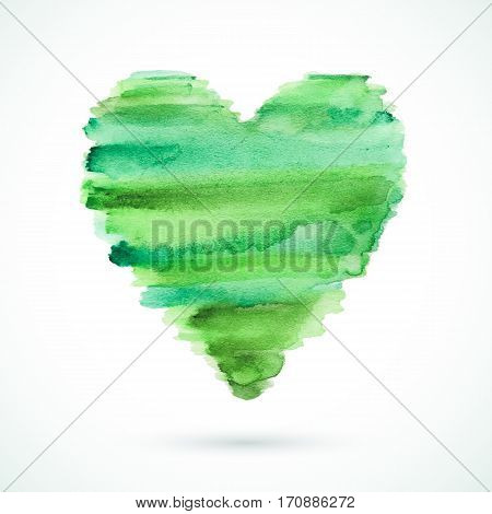Vector handmade watercolor heart background. Valentine's day. Colorful abstract texture. Green artistic heart.
