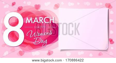 8 March Women's Day greeting card template with vector pink hearts and paper on background. Happy Womens day 8 march banner