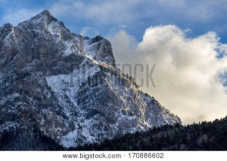 North face of the Pic de Morgon (Grand Morgon peak) in winter. Hautes-Alpes Southern French Alps France