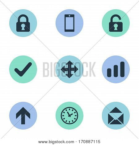 Set Of 9 Simple Apps Icons. Can Be Found Such Elements As Upward Direction, Check, Envelope And Other.