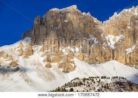 Rugged mountain cliffs of the Devoluy Massif (Tete de la Cluse peak) in the Southern French Alps. Hautes Alpes France