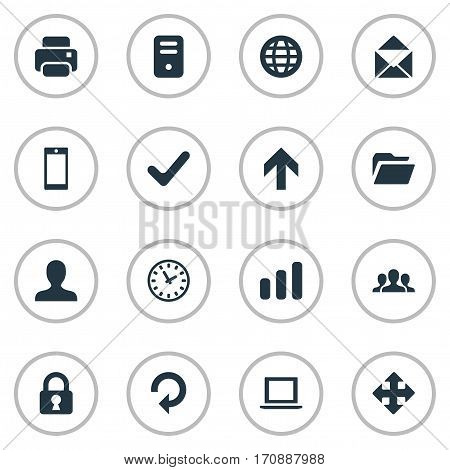 Set Of 16 Simple Apps Icons. Can Be Found Such Elements As Web, Printout, Statistics And Other.