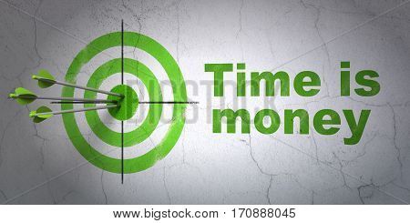 Success business concept: arrows hitting the center of target, Green Time is Money on wall background, 3D rendering