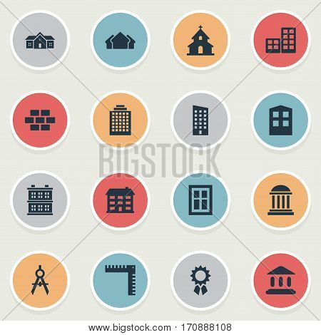 Set Of 16 Simple Structure Icons. Can Be Found Such Elements As Block, Popish, Flat And Other.