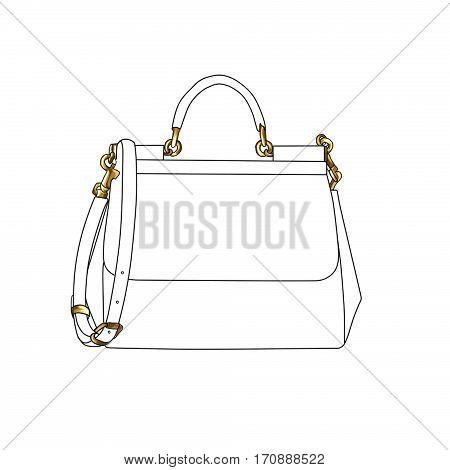 Raster fashion illustration of a designer hand bag