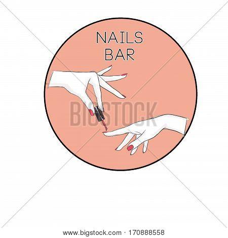 Nail Salon logo. Symbol of manicure. Design sign - nail care