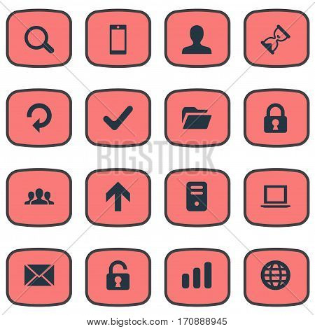 Set Of 16 Simple Practice Icons. Can Be Found Such Elements As Magnifier, Web, Community And Other.
