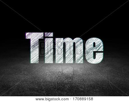 Time concept: Glowing text Time in grunge dark room with Dirty Floor, black background