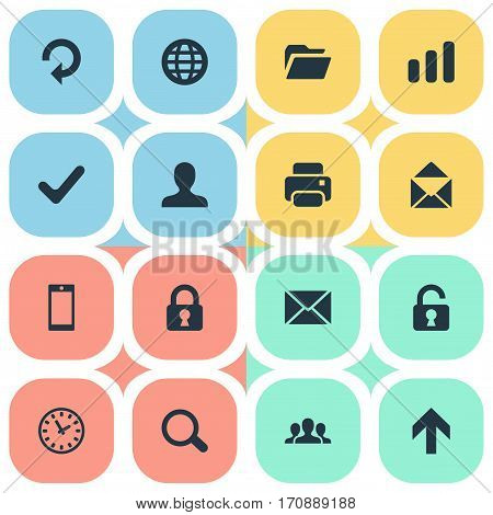 Set Of 16 Simple Apps Icons. Can Be Found Such Elements As Smartphone, Upward Direction, Web And Other.