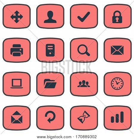 Set Of 16 Simple Application Icons. Can Be Found Such Elements As Watch, Refresh, Statistics And Other.