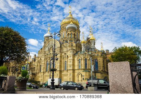 Assumption Church on Vasilevsky Island on the embankment Lieutenant Schmidt St. Petersburg September 19 2016