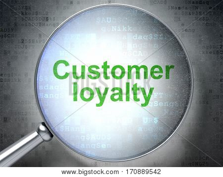 Marketing concept: magnifying optical glass with words Customer Loyalty on digital background, 3D rendering