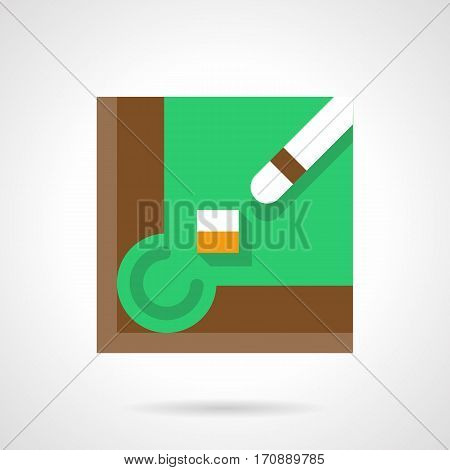 Abstract chalk block and white cue near a billiard table corner hole. Elements of billiards game. Stylish square flat design green vector icon with long shadow.