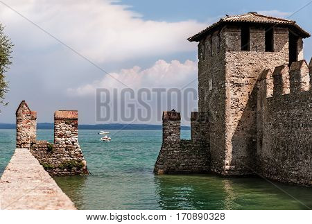 A Sunny day in the old castle in Sirmione on lake Garda in Italy