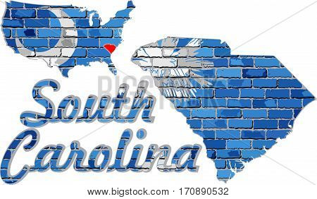 Flag of South Carolina on a brick wall - Illustration, Font with the South Carolina flag,  South Carolina map on a brick wall