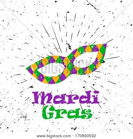 Mardi Gras concept with colorful mask and Lettering Typography with burst on a Old Textured Background. Vector illustration for cards, banners, print.