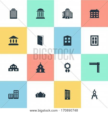Set Of 16 Simple Structure Icons. Can Be Found Such Elements As School, Booth, Floor And Other.