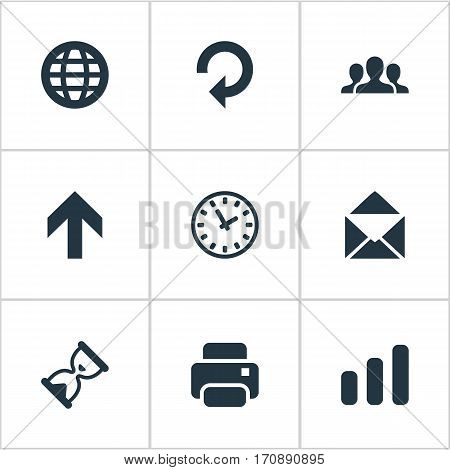 Set Of 9 Simple Practice Icons. Can Be Found Such Elements As Web, Statistics, Refresh And Other.