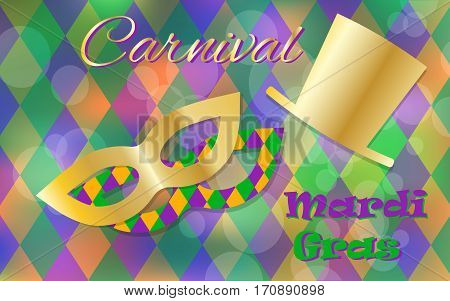 Mardi Gras celebration concept with golden mask and hat and lettering typography on a colorful background. Vector illustration for cards, banners, print.