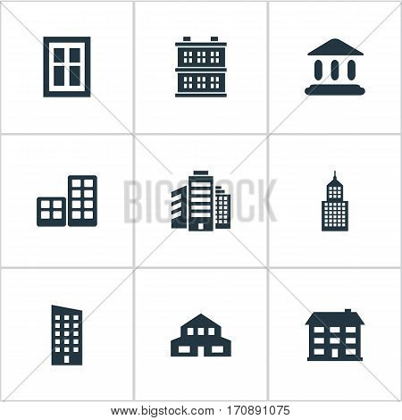 Set Of 9 Simple Construction Icons. Can Be Found Such Elements As Booth, Floor, Glazing And Other.