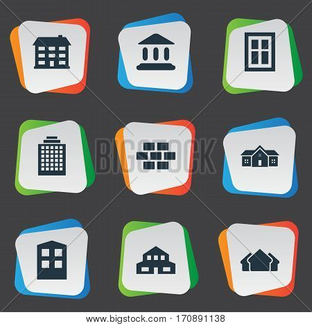 Set Of 9 Simple Structure Icons. Can Be Found Such Elements As Stone, Residence, School And Other.