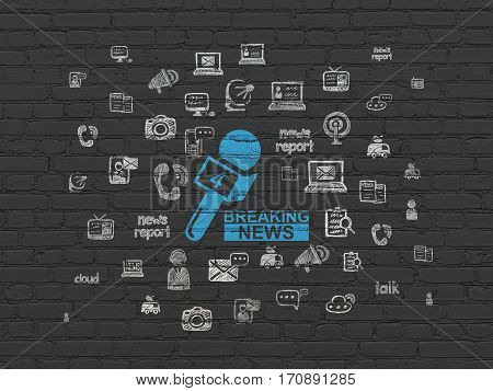 News concept: Painted blue Breaking News And Microphone icon on Black Brick wall background with  Hand Drawn News Icons