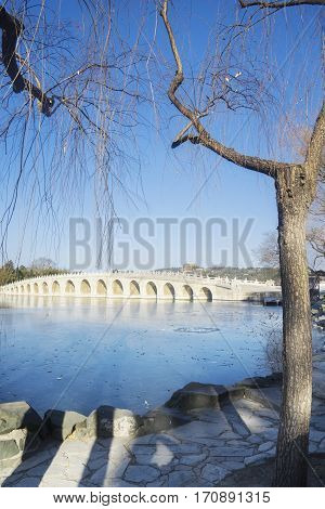 Stone bridge in the imperial garden at the Summer Palace Beijing