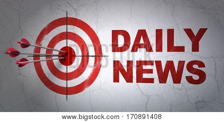 Success news concept: arrows hitting the center of target, Red Daily News on wall background, 3D rendering