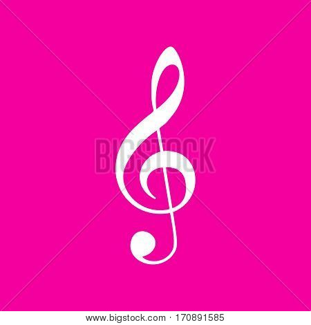 Music violin clef sign. G-clef. Treble clef. White icon at magenta background.