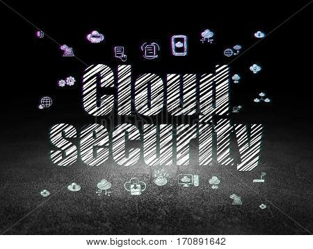 Cloud technology concept: Glowing text Cloud Security,  Hand Drawn Cloud Technology Icons in grunge dark room with Dirty Floor, black background