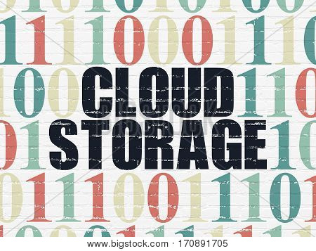 Cloud computing concept: Painted black text Cloud Storage on White Brick wall background with Binary Code