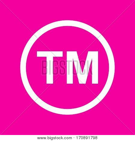 Trade mark sign. White icon at magenta background.