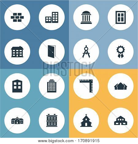 Set Of 16 Simple Architecture Icons. Can Be Found Such Elements As Popish, Block, Gate And Other.