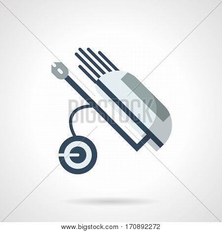 Blue wheel truck with golf bag with putters and clubs. Equipment for golfing. Sport and activity leisure. Flat color style vector icon.