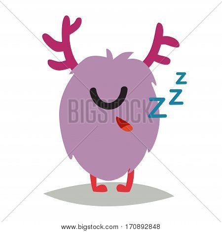 Emoji sleeping monster. Cute cyclop vector illustration. Cartoon funny emoticon. Monster sticker flat cartoon style. Isolated on white background