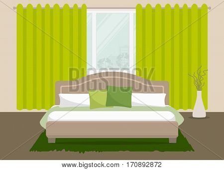 Bedroom in a green color. There is a bed with pillows and a vase on a window background in the picture. Vector flat illustration