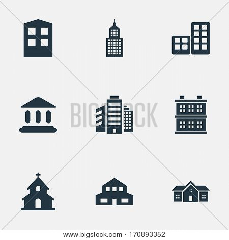 Set Of 9 Simple Architecture Icons. Can Be Found Such Elements As Structure, Block, Construction And Other.