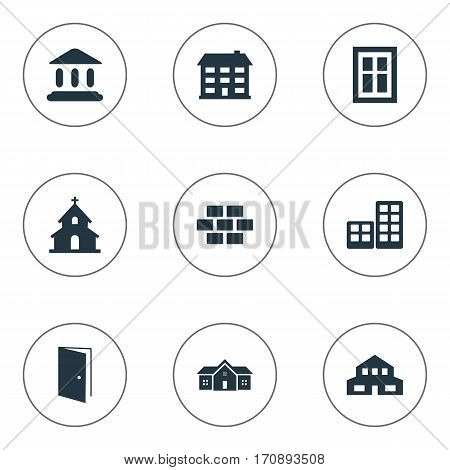 Set Of 9 Simple Structure Icons. Can Be Found Such Elements As Gate, School, Popish And Other.