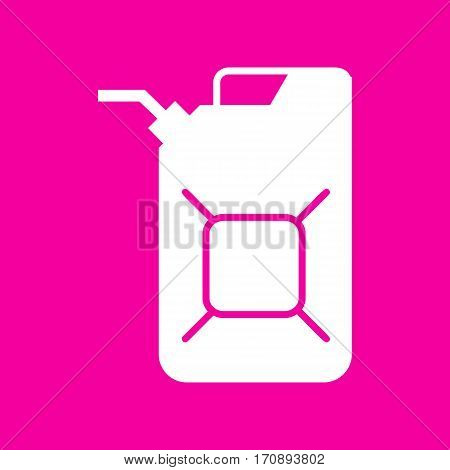 Jerrycan oil sign. Jerry can oil sign. White icon at magenta background.