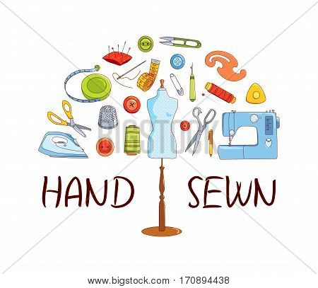 Sewing and tailoring tools Sewing machine needles mannequin or dummy vector half round concept Hand sewn
