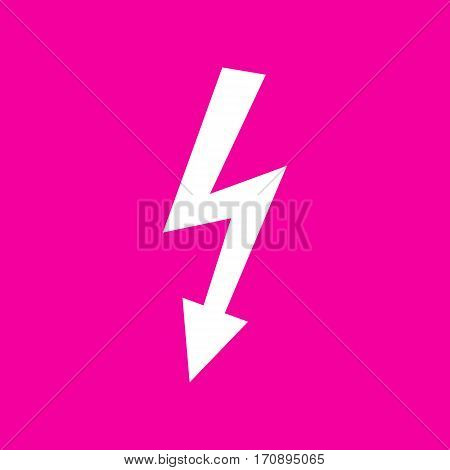 High voltage danger sign. White icon at magenta background.