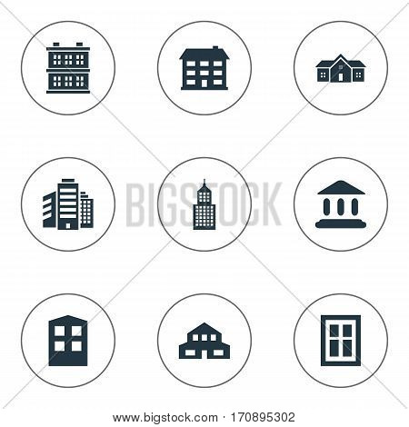 Set Of 9 Simple Architecture Icons. Can Be Found Such Elements As Block, Booth, Superstructure And Other.