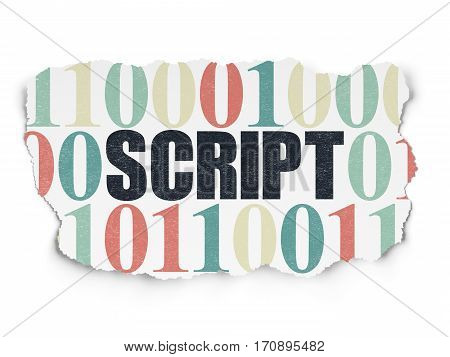 Database concept: Painted black text Script on Torn Paper background with  Binary Code